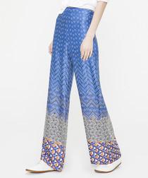 Blue print wide leg trousers