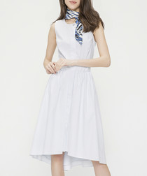 White cotton blend sleeveless dress