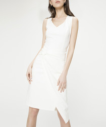 Ecru cotton blend sleeveless dress