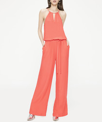 Pomegranate sleeveless jumpsuit
