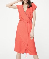 Pomegranate short sleeve wrap dress