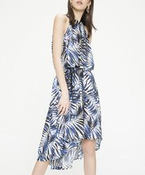 Blue sleeveless print hi-lo dress