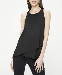 Black sleeveless swing blouse