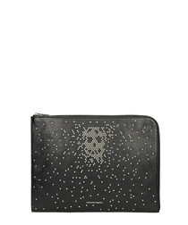 Black calf leather studded pouch