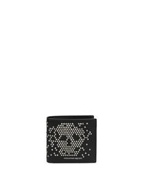 Black leather skull stud wallet