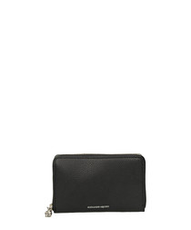 Medium black leather continental purse