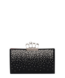 Black & silver leather ring clutch bag