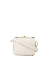 White leather boxy cross body bag