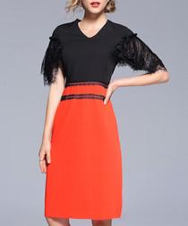 Black & orange lace short sleeve dress