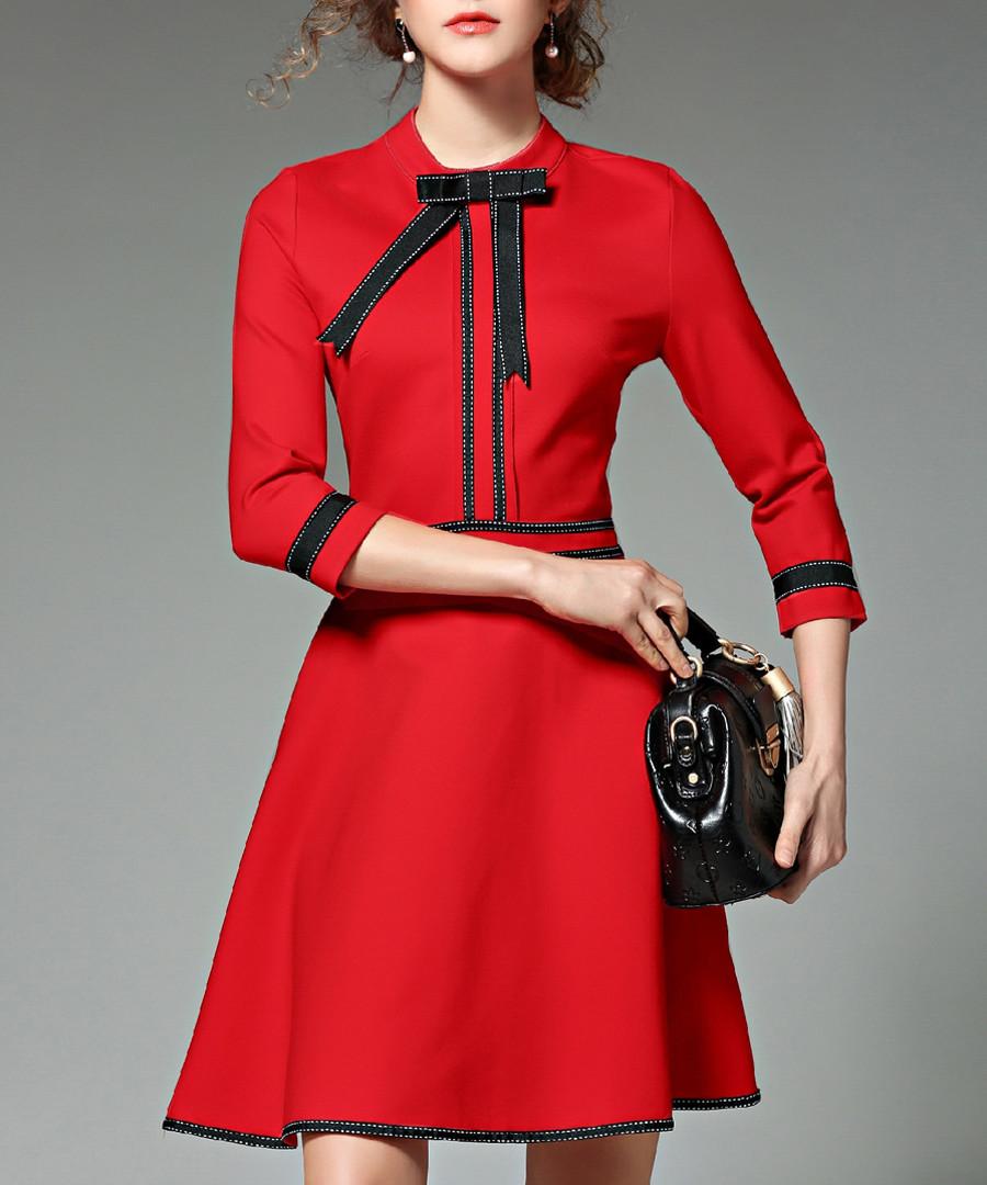Red & black 3/4 sleeve mini dress Sale - Kaimilan