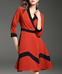 Orange & black 3/4 sleeve dress