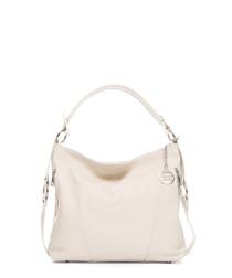 White leather slouch shoulder bag