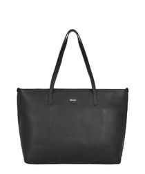 Tropez black leather shoulder bag