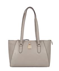 Moselle grey leather shoulder bag