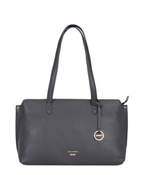 Marseille navy leather shoulder bag