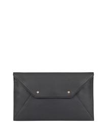 Ophelia black leather envelope clutch