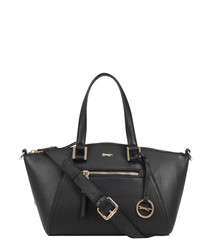 Charlie black leather trapeze grab bag