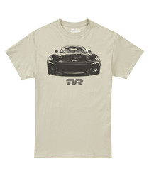 Sand pure cotton car motif T-shirt