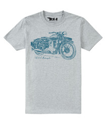 Grey cotton blend motorcycle T-shirt