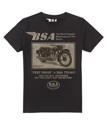 Black pure cotton motorcycle T-shirt