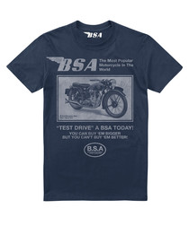 Navy pure cotton motorcycle T-shirt