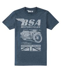 Navy cotton blend BSA motorcycle T-shirt