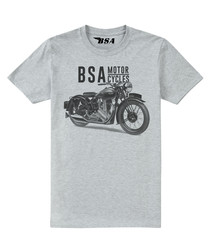 Grey marl cotton blend BSA motif T-shirt