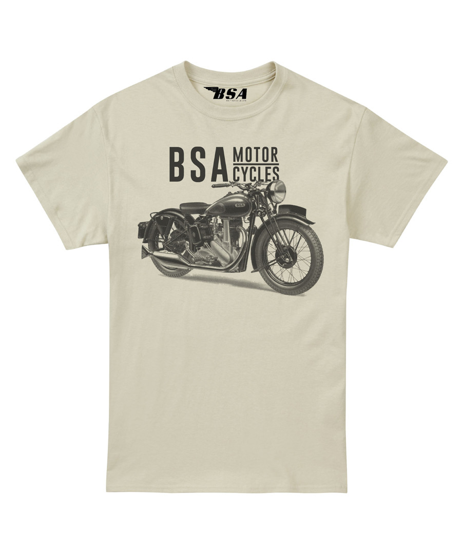 Sand pure cotton BSA motif T-shirt Sale - petrol heads