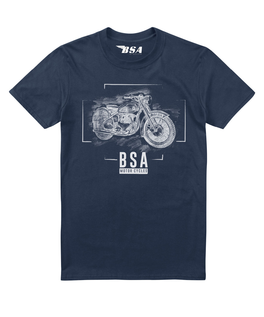 Navy pure cotton BSA print T-shirt Sale - petrol heads