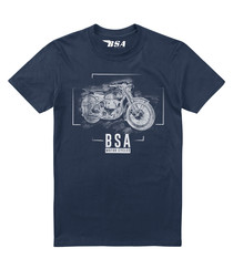 Navy pure cotton BSA print T-shirt