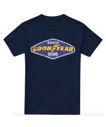 Navy pure cotton logo print T-shirt