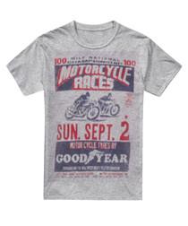 Grey cotton blend print T-shirt