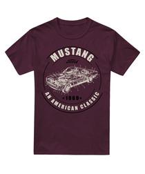 Maroon pure cotton mustang print T-shirt
