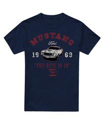 Navy pure cotton Mustang T-shirt