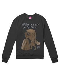 Grey Beauty & the Beast printed jumper