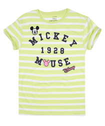 Girls' 1928 Mickey lime striped T-shirt