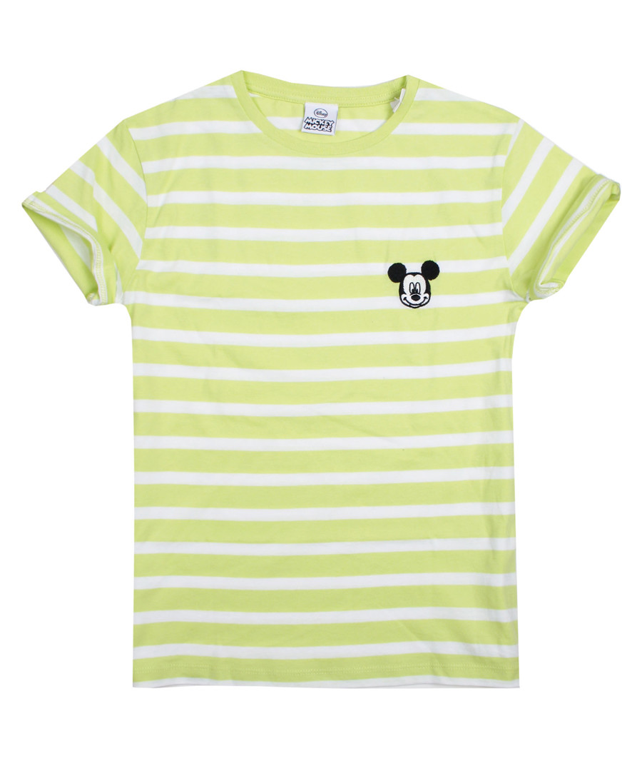 Girls' Minnie lime stripe logo T-shirt Sale - disney
