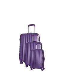 3pc violet spinner suitcase nest