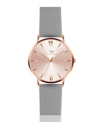 Silver-tone & rose gold-tone mesh watch
