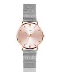 Silver-tone & rose gold-tone mesh watch