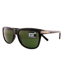 Men's black & gold-tone sunglasses