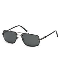 Men's black double bar sunglasses