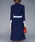 Blue button-up long sleeve dress Sale - yyfs Sale