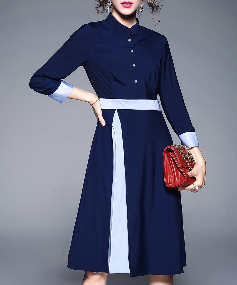 Blue button-up long sleeve dress Sale - yyfs