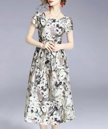 Grey floral short sleeve midi dress
