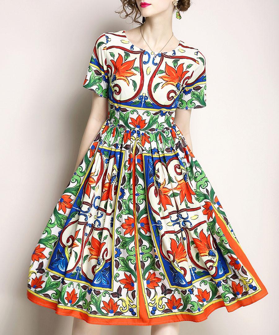 White cotton blend print dress Sale - yyfs