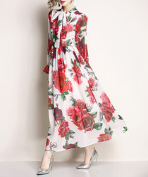 White rose print pussybow maxi dress