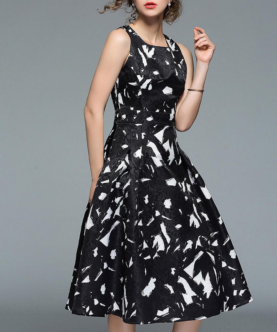 Black sleeveless print midi dress Sale - yyfs