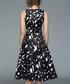 Black sleeveless print midi dress Sale - yyfs Sale