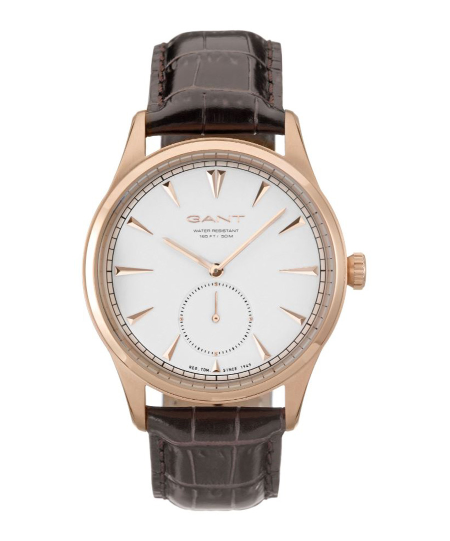 Rose gold-tone & brown leather watch Sale - gant